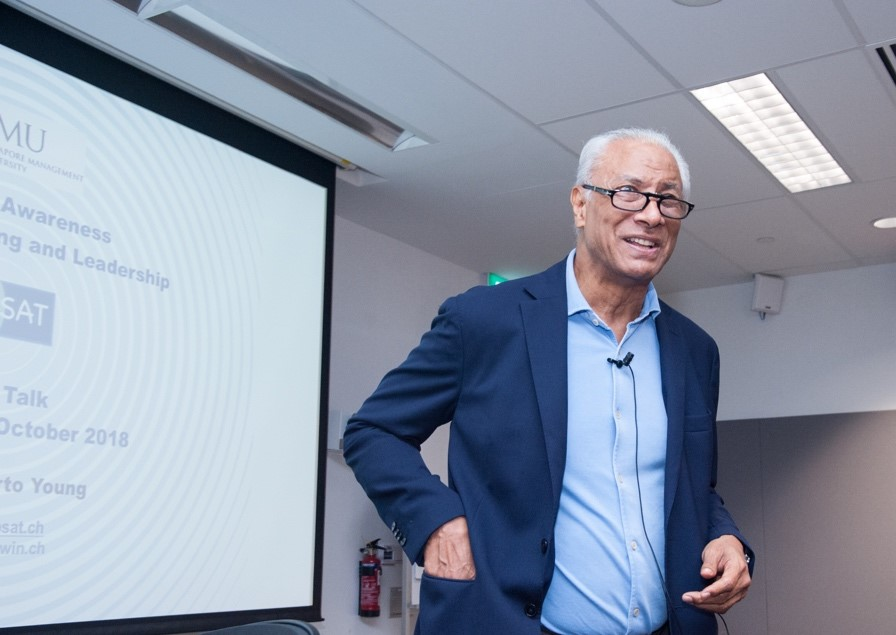 J.H. Young during his public talk on Strategic Awareness, Decision Making and Leadership at Singapore Management University SMU
